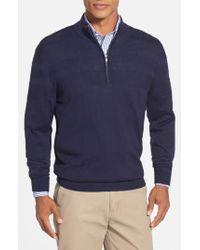 Cutter & Buck - Blue 'douglas' Merino Wool Blend Half Zip Sweater for Men - Lyst
