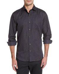 Bugatchi | Black Shaped Fit Step Check Stripe Sport Shirt for Men | Lyst