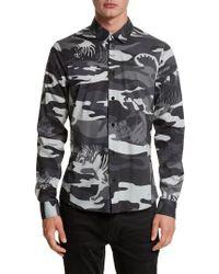 Versace Jeans | Gray Tiger Camo Print Shirt for Men | Lyst