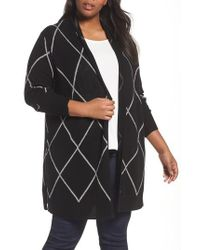 Sejour - Black Windowpane Wool & Cashmere Cardigan - Lyst