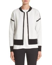 Lafayette 148 New York - White Matte Crepe Reversible Knit Bomber Jacket - Lyst
