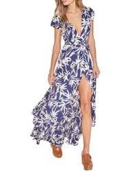 Amuse Society | Blue Provence Maxi Wrap Dress | Lyst