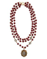 Virgins, Saints & Angels - Red Grande San Benito Rosary Necklace - Lyst