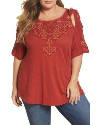 Lucky Brand - Embroidered Tie Shoulder Cold Shoulder Top - Lyst