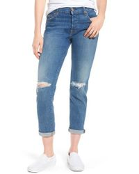 7 For All Mankind - Blue 7 For All Mankind Josefina Ripped Boyfriend Jeans - Lyst