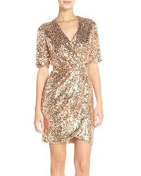 French Connection - Metallic Sequin Mesh Faux Wrap Dress - Lyst