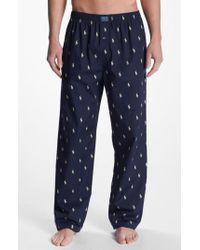 Polo Ralph Lauren - Blue Cotton Lounge Pants for Men - Lyst