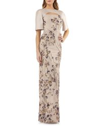 Kay Unger - Multicolor Cutout Detail Embroidered Beaded Gown - Lyst