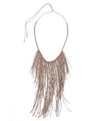 Serefina - Gray Glistening Fringe Necklace - Lyst