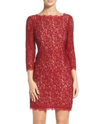 Adrianna Papell | Red Lace Overlay Sheath Dress | Lyst