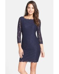 Adrianna Papell | Blue Lace Overlay Sheath Dress | Lyst