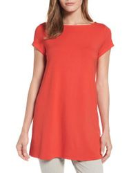 Eileen Fisher | Red Bateau Neck Tunic Top | Lyst