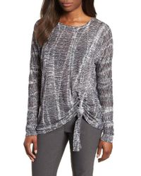 NIC+ZOE - Gray Nic + Zoe One With Nature Ruched Top - Lyst