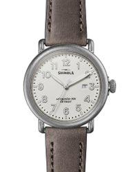 Shinola Metallic 'runwell' Leather Strap Watch
