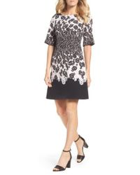 Adrianna Papell - Black Print Fit & Flare Dress - Lyst