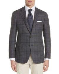 Canali - Brown Kei Classic Fit Windowpane Wool Blend Sport Coat for Men - Lyst
