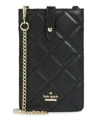 Kate Spade - Black Quilted Leather Iphone Crossbody Bag - Lyst