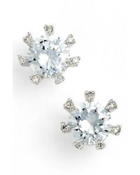 CZ by Kenneth Jay Lane - Metallic Embellished Prong Cubic Zirconia Stud Earrings - Lyst
