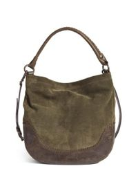Frye - Gray Melissa Suede & Whipstitch Leather Hobo - Lyst