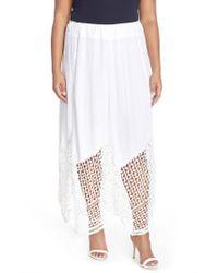 XCVI - White Xcvi 'Lauryn' Lace Border Midi Skirt - Lyst
