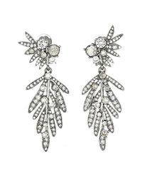 Oscar de la Renta - Metallic Tropical Palm Drop Clip Earrings - Lyst