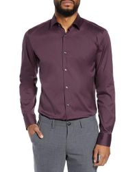 BOSS - Purple Jenno Slim Fit Stretch Solid Dress Shirt for Men - Lyst