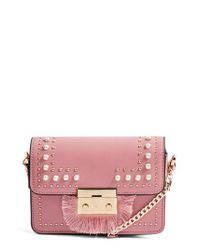 TOPSHOP - Pink Rosie Imitation Pearl Fringe Crossbody Bag - Lyst