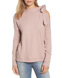 Caslon | Pink Caslon Tie Cold Shoulder Sweatshirt | Lyst
