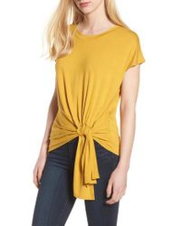 Trouvé - Yellow Knot Front Tee - Lyst