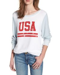 Wildfox - White Usa Baggy Beach Jumper Pullover - Lyst