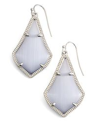 Kendra Scott | Metallic 'alex' Drop Earrings - Rhodium/ Slate Cats Eye | Lyst