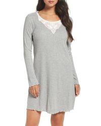 Lauren by Ralph Lauren | Gray Lace Neck Sleep Shirt | Lyst