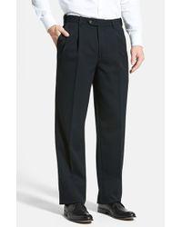 Berle | Black Self Sizer Waist Pleated Wool Gabardine Trousers for Men | Lyst