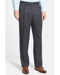 Berle | Gray Pleated Wool Gabardine Trousers for Men | Lyst