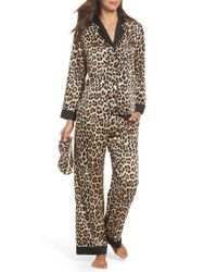 Kate Spade | Brown Leopard Print Charmeuse Pajamas & Sleep Mask | Lyst