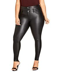 City Chic - Black Skylar Coated Corset Super Stretch Skinny Jeans - Lyst