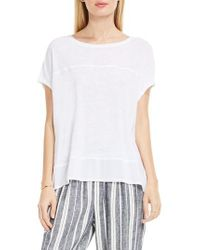 Two By Vince Camuto - White Chiffon High/low Hem Knit Tee - Lyst