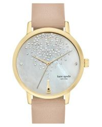 Kate Spade - Natural 'metro' Leather Strap Watch - Lyst