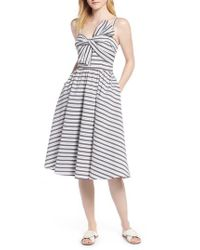fe8a97795a9 Lyst - Nordstrom 1901 Stripe Bow Front Sundress in Blue