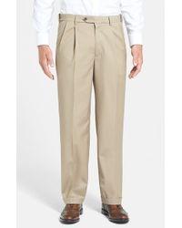 Berle | Brown Self Sizer Waist Pleated Wool Gabardine Trousers for Men | Lyst