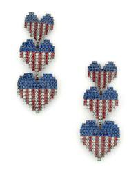 Elizabeth Cole - Blue Patriotic Crystal Drop Earrings - Lyst