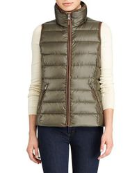 Lauren by Ralph Lauren | Green Quilted Down Vest | Lyst