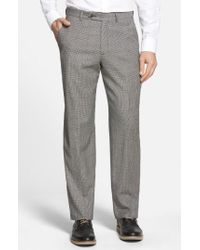 Berle | Gray Flat Front Houndstooth Wool Trousers for Men | Lyst