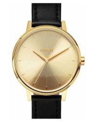 Nixon - Metallic 'the Kensington' Leather Strap Watch - Lyst