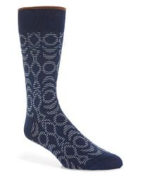 Bugatchi - Blue Geometric Socks for Men - Lyst