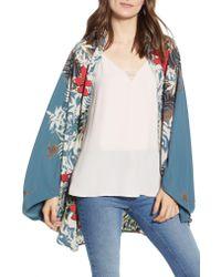 Trouvé - Multicolor Floral Print Cocoon Open-front Cardigan - Lyst