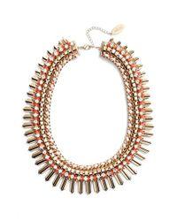 Adia Kibur - Pink Crystal & Suede Statement Necklace - Lyst