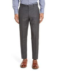 J.Crew - Gray J.crew Ludlow Flat Front Solid Wool Trousers for Men - Lyst