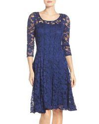 Chetta B | Blue 'magic' Lace Fit & Flare Dress | Lyst