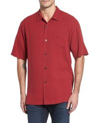 Tommy Bahama | Red 'catalina Twill' Original Fit Silk Camp Shirt for Men | Lyst